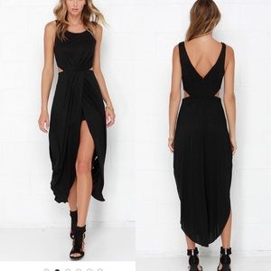 Black fly away maxi dress with side cut outs